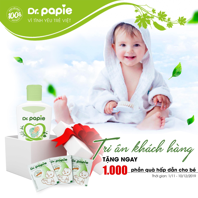Tặng ngay 3 gói gạc răng miệng Dr.Papie cho 1000 mẹ may mắn