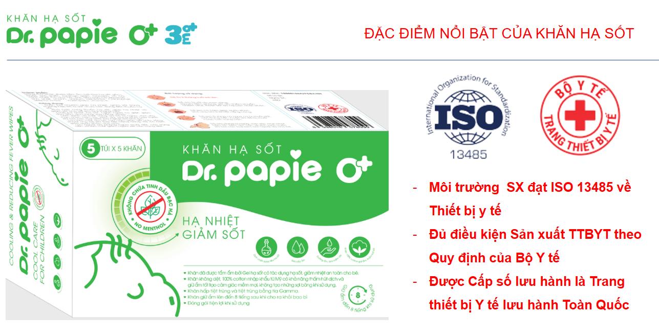 Khăn hạ sốt Dr.Papie là trang thiết bị y tế được Bô y tế cấp phép