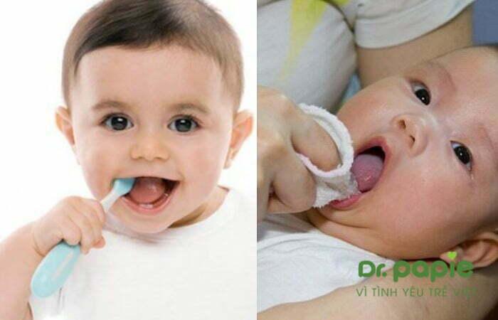Vệ sinh răng miệng cho trẻ bị nấm lưỡi