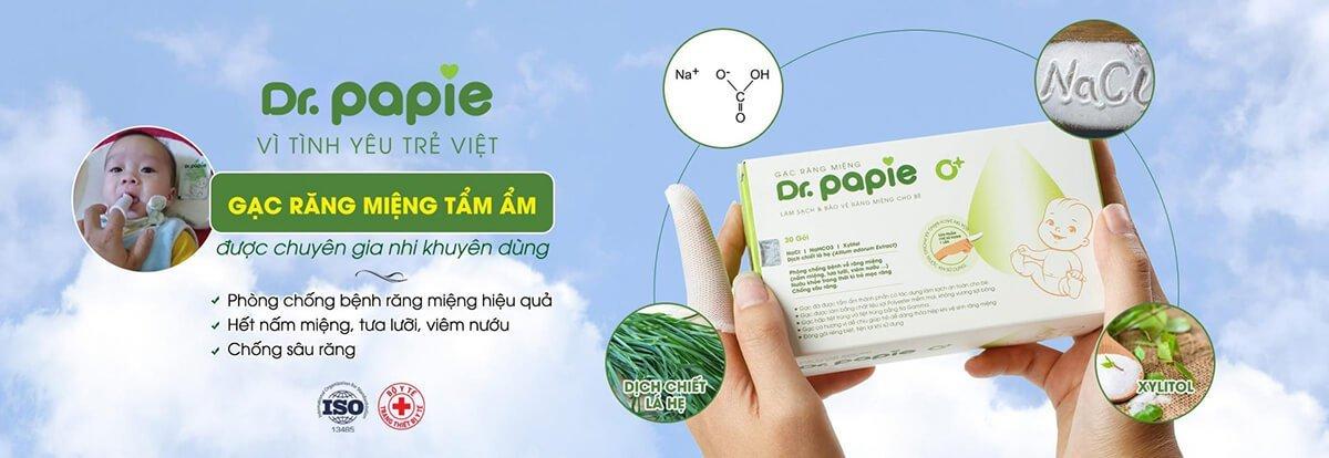 Gạc răng miệng tẩm ẩm Dr.Papie được chuyên gia khuyên dùng