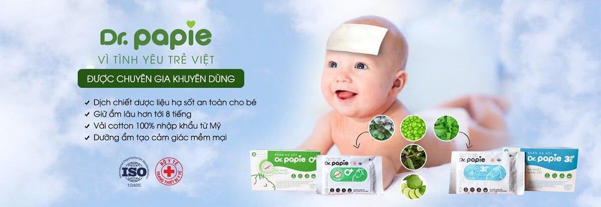 Khăn hạ sốt Dr Papie chứa dịch chiết hạ sốt an toàn cho bé