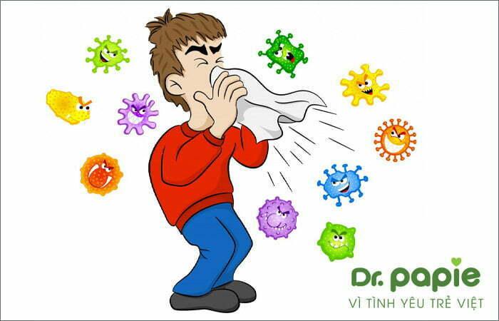nguyên nhân sốt siêu vi ở trẻ em là do tiếp xúc với giọt bắn của người nhiễm virus