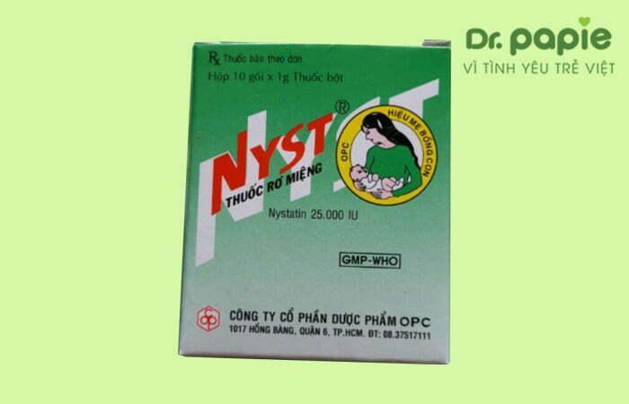 Thuốc rơ miệng Nystatin trị lưỡi trắng ở trẻ