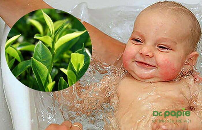 Tắm nước lá trà xanh cho trẻ bị chàm sữa ở mặt