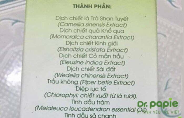 Thành phần cửa sữa tắm Dr.Ppaie