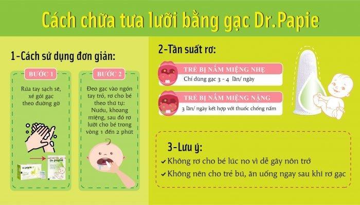 Cách trị tưa lưỡi cho bé bằng gạc răng miệng Dr.Papie