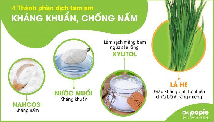 Gạc Dr.Papie được tẩm ẩm bởi 4 thành phần có tác dụng kháng khuẩn, chống nấm phù hợp để rơ lưỡi cho trẻ sơ sinh hàng ngày