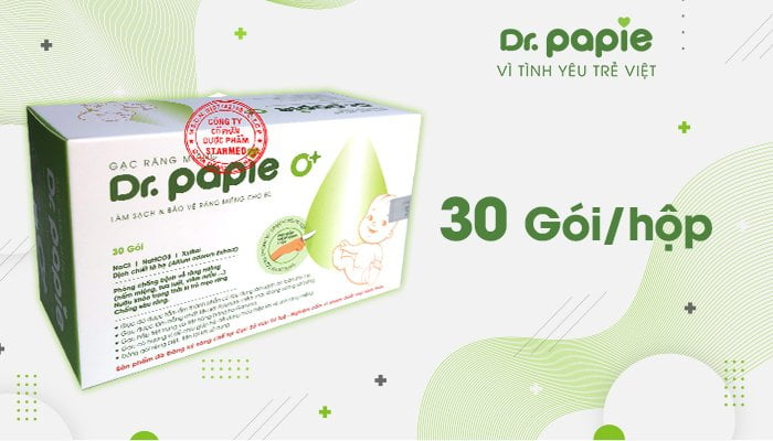 Hình ảnh Gạc răng miệng Dr.Papie với quy cách 30 gói/ 1 hộp