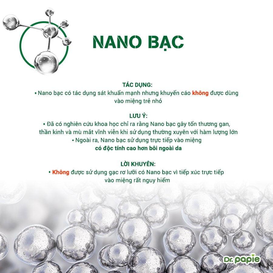 Nano bạc rất nguy hiểm khi sử dụng vào miệng cho bé. Mẹ tuyệt đối không sử dụng gạc có Nano bạc